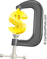 Dollar sign in clamp concept
