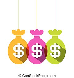 Dollar Sign in Colorful Bags Set - Vector Flat Design Illustration