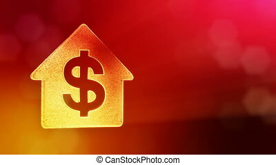 dollar sign in emblem of a house. Finance background of luminous particles. 3D loop animation with depth of field, bokeh and copy space for your text. Red color v2