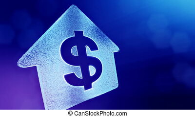 dollar sign in emblem of a house. Finance background of luminous particles. 3D loop animation with depth of field, bokeh and copy space for your text. Blue v3