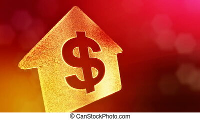 dollar sign in emblem of a house. Finance background of luminous particles. 3D loop animation with depth of field, bokeh and copy space for your text. Red v4