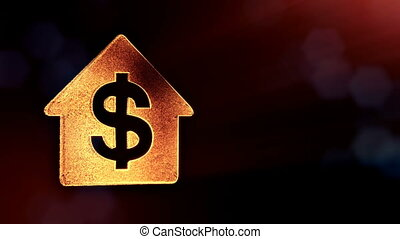 dollar sign in emblem of a house. Finance background of luminous particles. 3D loop animation with depth of field, bokeh and copy space for your text. dark background v1