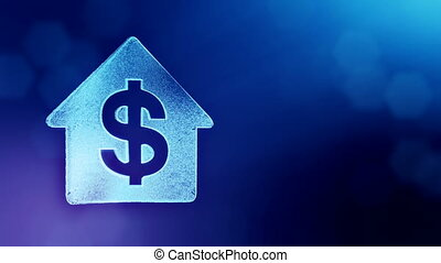 dollar sign in emblem of a house. Finance background of luminous particles. 3D loop animation with depth of field, bokeh and copy space for your text. blue color v1