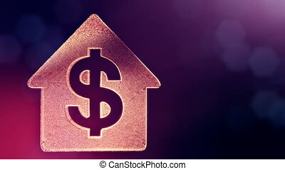 dollar sign in emblem of a house. Finance background of luminous particles. 3D loop animation with depth of field, bokeh and copy space for your text. Violet v4