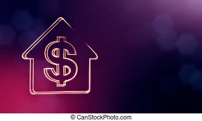 dollar sign in emblem of a house. Finance background of luminous particles. 3D seamless animation with depth of field, bokeh and copy space for your text. Violet color v2