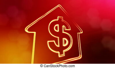 dollar sign in emblem of a house. Finance background of...
