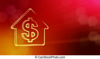 dollar sign in emblem of a house. Finance background of luminous particles. 3D seamless animation with depth of field, bokeh and copy space for your text. Red v3