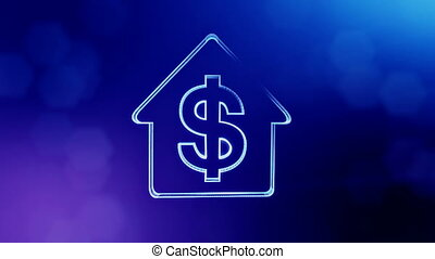 dollar sign in emblem of a house. Finance background of luminous particles. 3D seamless animation with depth of field, bokeh and copy space for your text. Blue v4