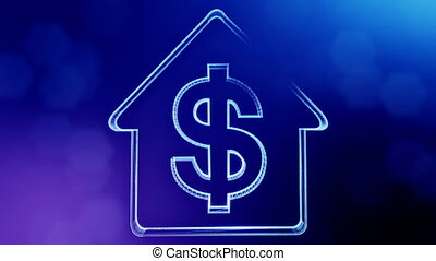 dollar sign in emblem of a house. Finance background of luminous particles. 3D seamless animation with depth of field, bokeh and copy space for your text. blue color v1