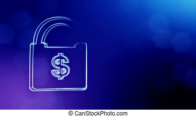dollar sign in emblem of a lock. Finance background of...
