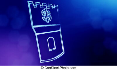 dollar sign in emblem of a tower. Finance background of luminous particles. 3D loop animation with depth of field, bokeh and copy space for your text. blue color v1