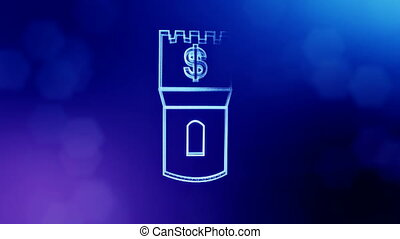 dollar sign in emblem of a tower. Finance background of...
