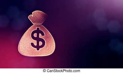 dollar sign in emblem of bag. Finance background of luminous...