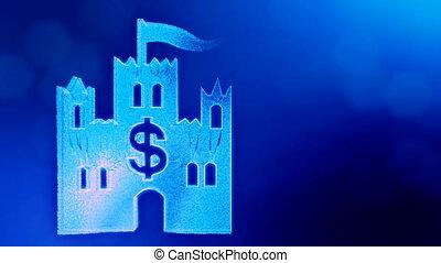dollar sign in emblem of castle. Finance background of...