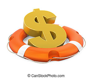 Dollar Sign in Lifebuoy Isolated