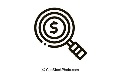 Dollar Sign In Magnifier Glass Center Icon Animation