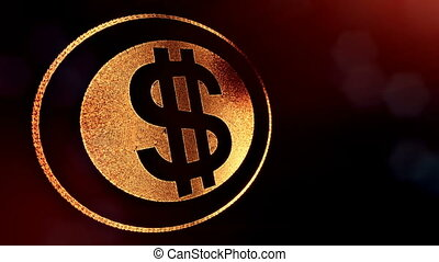 dollar sign in rings. Finance background of luminous...