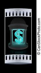 Dollar sign in rotunda. The film strip