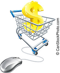 Dollar sign in shopping cart and mouse