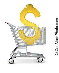 Dollar sign in shopping cart