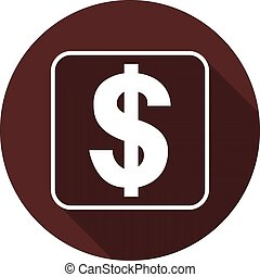 Dollar sign in the outline of a square with a shadow on a circle of dark red, vector