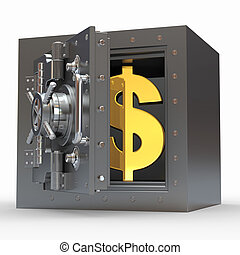 Dollar sign in vault on white isolated background. 3d