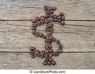 Dollar sign made of coffee beans