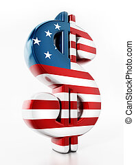 Dollar sign mapped with American flag texture. 3D illustration