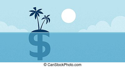 Dollar Sign Offshore Island Concept Flat illustration -...