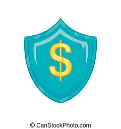 Dollar sign on a sky blue shield with tick icon