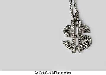 Dollar sign on a white background.
