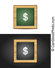Dollar sign on chalkboard