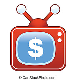 Dollar sign on retro television