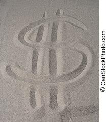 dollar sign on sand