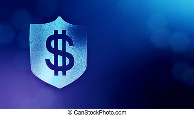 dollar sign on the shield. Finance background of luminous particles. 3D loop animation with depth of field, bokeh and copy space for your text. Blue color v2