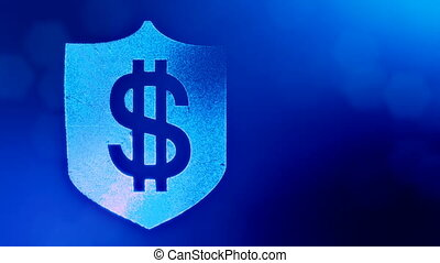 dollar sign on the shield. Finance background of luminous particles. 3D loop animation with depth of field, bokeh and copy space for your text. Blue v4