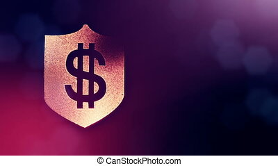dollar sign on the shield. Finance background of luminous particles. 3D loop animation with depth of field, bokeh and copy space for your text. purple color v1