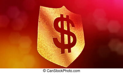 dollar sign on the shield. Finance background of luminous...