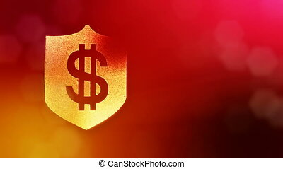 dollar sign on the shield. Finance background of luminous particles. 3D loop animation with depth of field, bokeh and copy space for your text. Red color v2