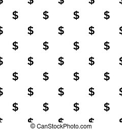 Dollar sign seamless pattern on white background.