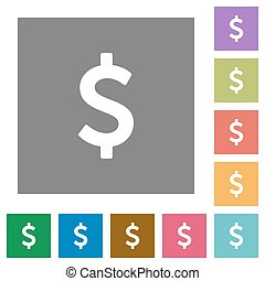 Dollar sign square flat icons