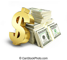 dollar sign stacks of dollars on a white background