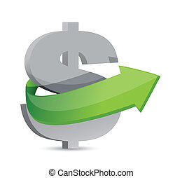 dollar sign with arrow. Symbolize growth.