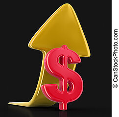Dollar sign with arrow up. Image with clipping path