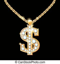 Dollar sign with diamonds on gold chain. Hip-hop style...