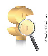 dollar sign with magnifying glass over white background....