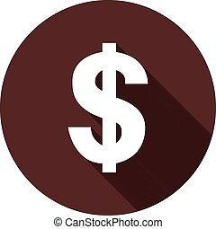 Dollar sign with shadow on a circle of dark red, vector