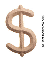 Dollar sign written with sand
