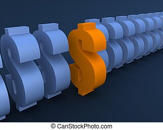 dollar signs - 3d rendered illustration of dollar signs...