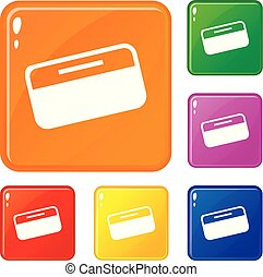 Dollar stack icons set vector color